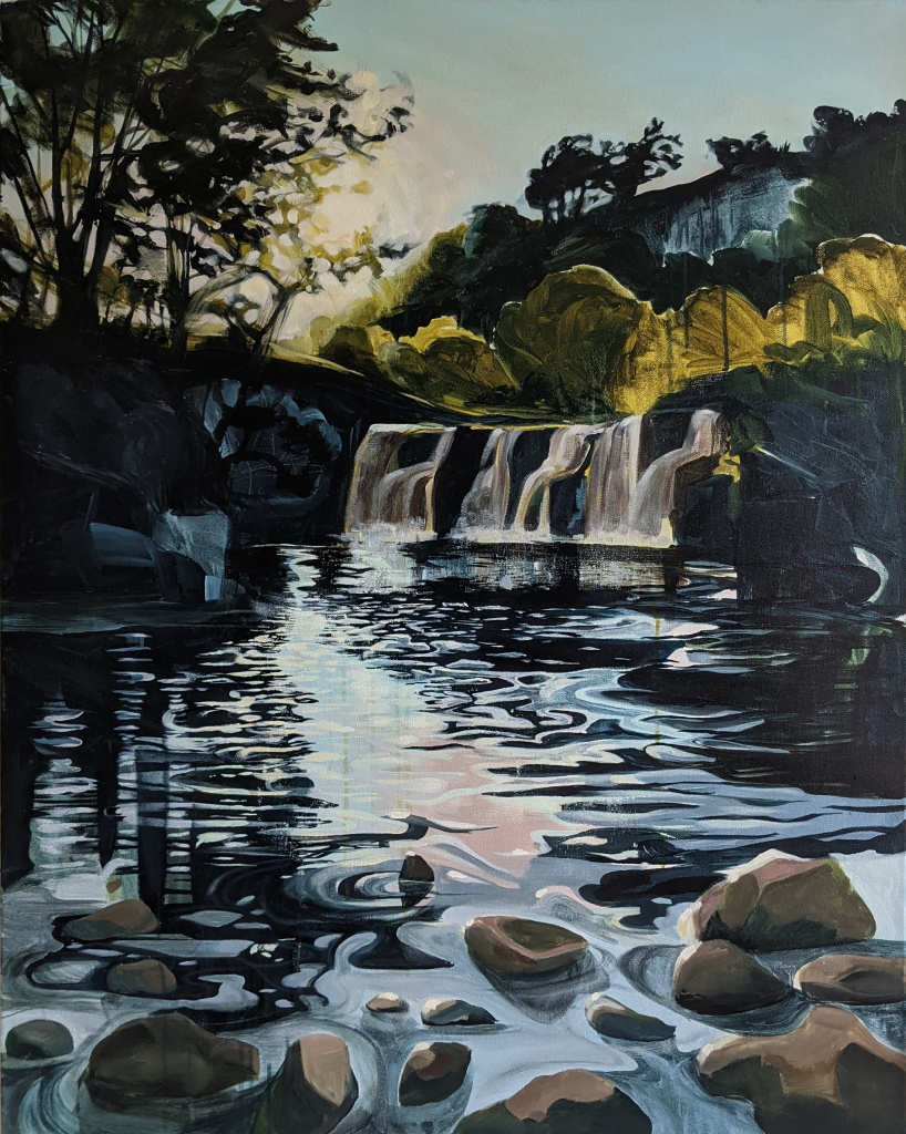 landscape painting of Wainwath waterfall Swaledale Yorkshire in the calm serene summer evening light made using Wallace Seymour paint